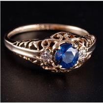 Vintage 1930's 10k Yellow Gold Sapphire & Diamond Engagement Ring .75ctw
