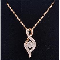 "10k Yellow Gold Round Cut Diamond Cluster Pendant W/ 18"" Chain .30ctw"