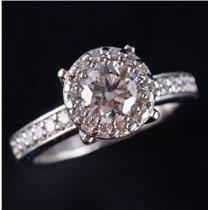 Platinum Round Cut Diamond Halo Style Solitaire Engagement Ring 1.04ctw