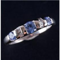 14k White Gold Round Cut Tanzanite & Baguette Diamond Three Stone Ring .60ctw