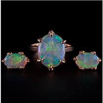 "18k Yellow Gold Oval Cabochon Cut ""AAA"" Opal Solitaire Ring & Earring Set 5.3ctw"