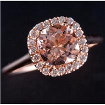 14k Rose Gold Morganite & Diamond Halo Style Engagement Ring 2.80ctw