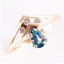 14k Yellow Gold Pear Cut Blue Topaz Solitaire Ring W/ Diamond Accents .62ctw
