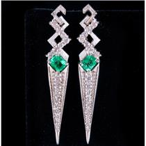 14k White Gold Emerald Cut Emerald & Diamond Dangle Stud Earrings 1.78ctw