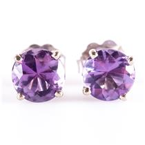 14k White Gold Round Cut Medium Purple Amethyst Solitaire Stud Earrings 1.50ctw
