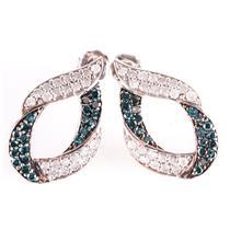 10k White Gold Round Cut Blue Diamond & Diamond Stud Dangle Earrings 2.06ctw