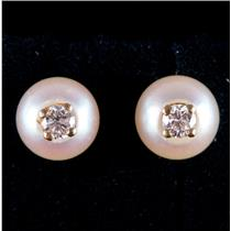 14k Yellow Gold Round Cut Cultured Pearl & Diamond Stud Earrings .10ctw