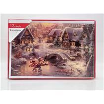 American Greetings Thomas Kinkade Mickey & Minnie Ice Skating Boxed Cards #36732