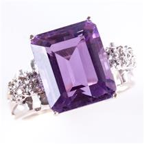 14k White Gold Amethyst Solitaire Cocktail Ring W/ Diamond Accents 5.93ctw