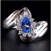 14k White Gold Pear Cut Tanzanite & Diamond Solitaire Halo Style Ring .98ctw