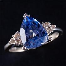 14k White Gold Trillion Cut Tanzanite Solitaire Ring W/ Diamond Accents 4.12ctw