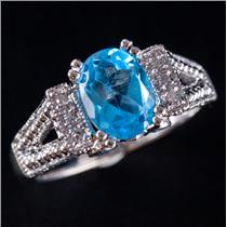 14k White Gold Oval Cut Sky Blue Topaz Solitaire Ring W/ Topaz Accents 1.84ctw
