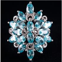 10k White Gold Oval Cut Apatite Floral Cluster Cocktail Ring 6.30ctw