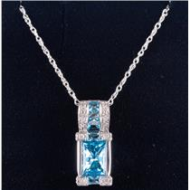 10k White Gold Rectangle Cut Swiss Blue Topaz & Diamond Necklace 2.52ctw
