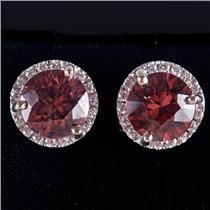 14k White Gold Round Cut Cognac Zircon & Diamond Halo Stud Earrings 2.14ctw