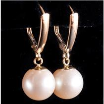 14k Yellow Gold Freshwater Cultured Pearl Solitaire Dangle Earrings 3.3g