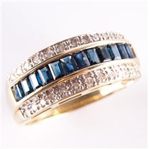 14k Yellow Gold Baguette Cut Sapphire & Diamond Cocktail Ring 1.68ctw
