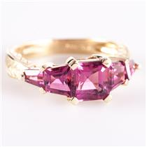 14k Yellow Gold Asscher Cut Pink Topaz Five-Stone Engraved Style Ring 3.14ctw