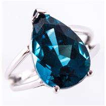 "10k White Gold Pear Cut ""AA"" London Blue Topaz Solitaire Ring 7.25ct"