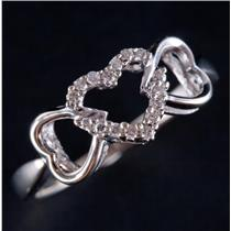 10k White Gold Round Cut Diamond Heart Style Promise Ring .12ctw
