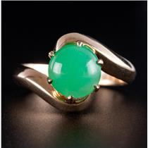 14k Yellow Gold Round Cabochon Cut Chrysoprase Solitaire Ring 2.0ct