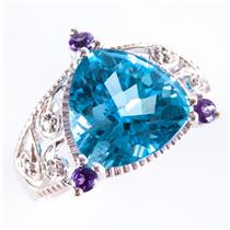 10k White Gold Trillion Cut Swiss Blue Topaz & Amethyst & Diamond Ring 6.61ctw