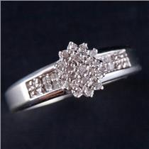 10k White Gold Round Cut Diamond Cluster Engagement / Promise Ring .25ctw