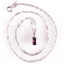 "14k White Gold Emerald Cut Ruby & Diamond Pendant W/ 20"" Chain .60ctw"