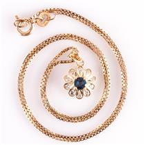 14k Yellow Gold Round Cut Sapphire & Diamond Floral Pendant W/ Chain .31ctw