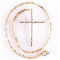 "14k Yellow Gold Round Single Cut Diamond Cross Pendant W/ 16"" Chain .18ctw"
