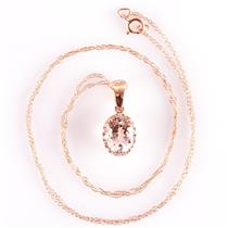 "14k Rose Gold Oval Cut Morganite & Diamond Halo Pendant W/ 18"" Chain 1.34ctw"