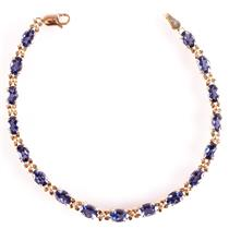 14k Yellow Gold Oval Cut Iolite Tennis Bracelet 6.80ctw Length 7.25""
