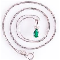 "14k White Gold Pear Cut Lab Emerald & Diamond Pendant W/ 18"" Chain .36ctw"