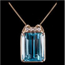 14k Yellow Gold Swiss Blue Topaz Solitaire Necklace W/ Diamond Accents 20.28ctw