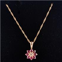 "14k Yellow Gold Round Cut Ruby & Diamond Floral Pendant W/ 18"" Chain .27ctw"