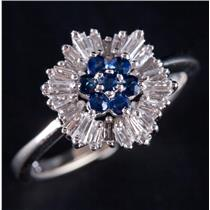 14k White Gold Round Cut Sapphire & Diamond Cluster Cocktail Ring .36ctw
