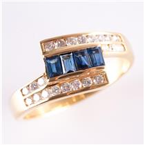 18k Yellow Gold Baguette Cut Sapphire & Diamond Bypass Style Ring .87ctw