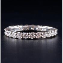 14k White Gold Round Cut Diamond Eternity Wedding / Anniversary Band 1.25ctw