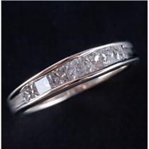 10k White Gold Princess Cut Diamond Channel Set Wedding Anniversary Ring 1.05ctw