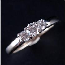14k White Gold & Platinum Round Cut Diamond Three-Stone Engagement Ring .45ctw
