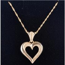 "14k Yellow Gold Beverly Hills Gold Heart Pendant W/ 20"" Chain 2.3g"