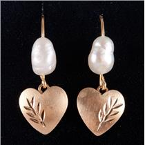 14k Yellow Gold Freshwater Cultured Pearl Solitaire Dangle Leaf Earrings .80g