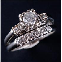 Vintage 1940's 14k White Gold Diamond Engagement / Wedding Ring Set .43ctw