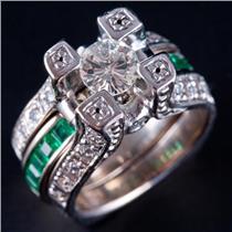 14k White Gold Round Cut Diamond & Emerald Engagement Wedding Ring Set 2.37ctw