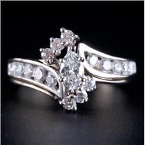 14k White Gold Marquise Cut Diamond Engagement / Wedding Ring Set 1.10ctw