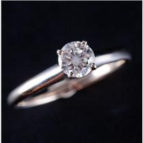 14k White Gold Round Brilliant Cut Diamond Solitaire Engagement Ring .43ct