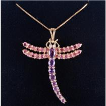 14k Yellow Gold Amethyst / Pink Topaz / Diamond Dragonfly Necklace 1.25ctw