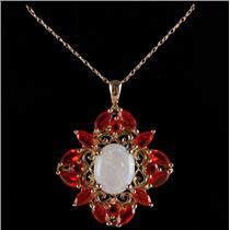"10k Yellow Gold Oval Cut Opal & Fire Opal Floral Pendant W/ 18"" Chain 2.28ctw"