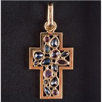 18k Yellow Gold Multi-Cut Sapphire & Ruby Cross Pendant 1.86ctw 3.5g