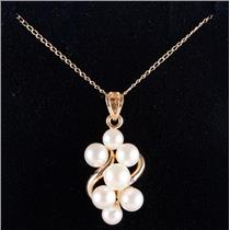 """14k Yellow Gold Freshwater Cultured Pearl Cluster Pendant W/ 16"""" Chain 1.7g"""